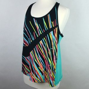 Nike Racerback Tank Top Womens Black Teal X-Large